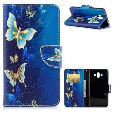 Golden Butterflies Leather Wallet Case for Huawei Mate 10 (5.9 inch, front Fingerprint)