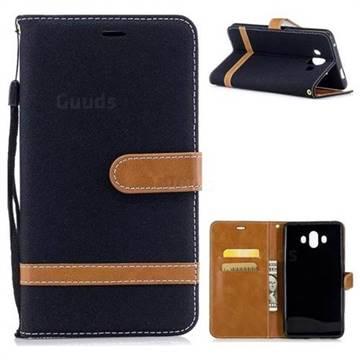 Jeans Cowboy Denim Leather Wallet Case for Huawei Mate 10 (5.9 inch, front Fingerprint) - Black