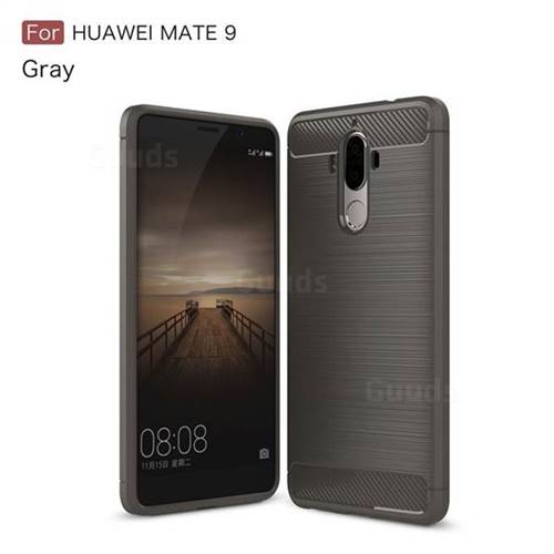 Luxury Carbon Fiber Brushed Wire Drawing Silicone TPU Back Cover for Huawei Mate9 Mate 9 (Gray)