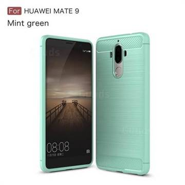 Luxury Carbon Fiber Brushed Wire Drawing Silicone TPU Back Cover for Huawei Mate9 Mate 9 (Mint Green)