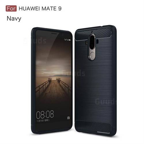 Luxury Carbon Fiber Brushed Wire Drawing Silicone TPU Back Cover for Huawei Mate9 Mate 9 (Navy)