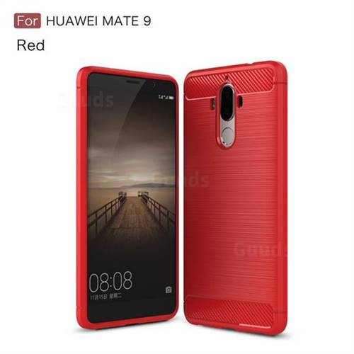 Luxury Carbon Fiber Brushed Wire Drawing Silicone TPU Back Cover for Huawei Mate9 Mate 9 (Red)