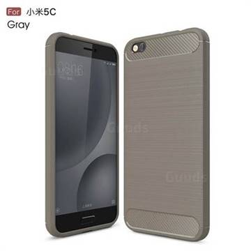 Luxury Carbon Fiber Brushed Wire Drawing Silicone TPU Back Cover for Xiaomi Mi 5c (Gray)