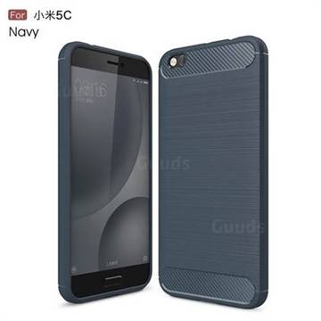 Luxury Carbon Fiber Brushed Wire Drawing Silicone TPU Back Cover for Xiaomi Mi 5c (Navy)