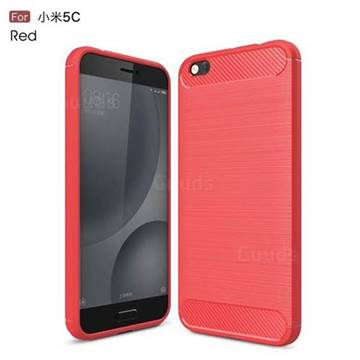 Luxury Carbon Fiber Brushed Wire Drawing Silicone TPU Back Cover for Xiaomi Mi 5c (Red)