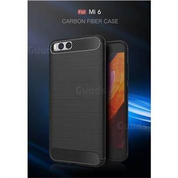 Luxury Carbon Fiber Brushed Wire Drawing Silicone TPU Back Cover for Xiaomi Mi 6 Mi6 (Black)