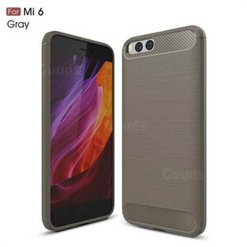 Luxury Carbon Fiber Brushed Wire Drawing Silicone TPU Back Cover for Xiaomi Mi 6 Mi6 (Gray)