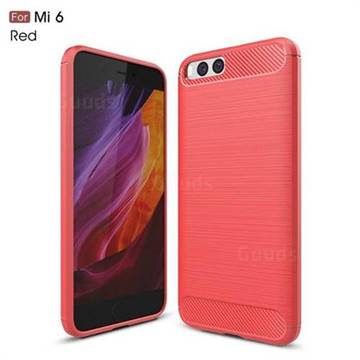 Luxury Carbon Fiber Brushed Wire Drawing Silicone TPU Back Cover for Xiaomi Mi 6 Mi6 (Red)