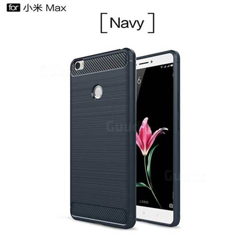 Luxury Carbon Fiber Brushed Wire Drawing Silicone TPU Back Cover for Xiaomi Mi Max (Navy)