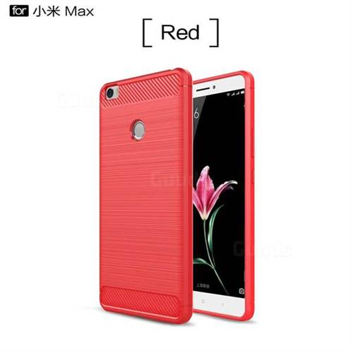 Luxury Carbon Fiber Brushed Wire Drawing Silicone TPU Back Cover for Xiaomi Mi Max (Red)