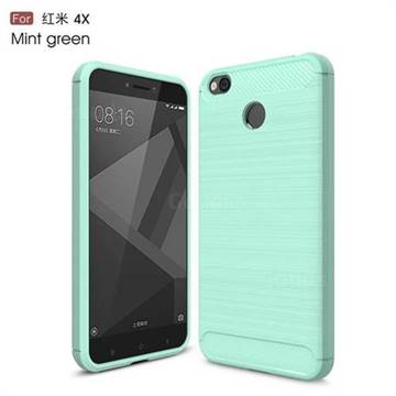 Luxury Carbon Fiber Brushed Wire Drawing Silicone TPU Back Cover for Xiaomi Redmi 4 (4X) (Mint Green)