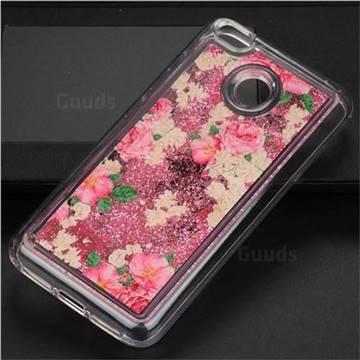 Rose Flower Glassy Glitter Quicksand Dynamic Liquid Soft Phone Case for Xiaomi Redmi 4 (4X)