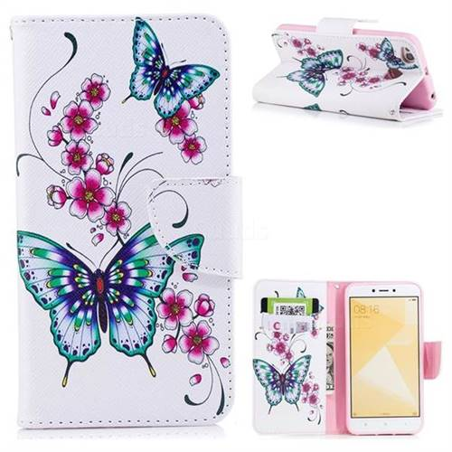 Peach Butterfly Leather Wallet Case for Xiaomi Redmi 4 (4X)