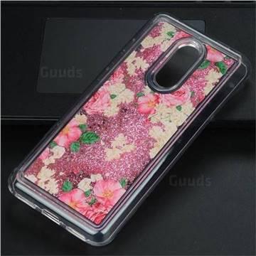 Rose Flower Glassy Glitter Quicksand Dynamic Liquid Soft Phone Case for Mi Xiaomi Redmi 5 Plus