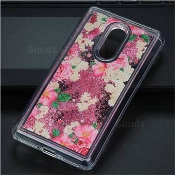 Rose Flower Glassy Glitter Quicksand Dynamic Liquid Soft Phone Case for Xiaomi Redmi Note 4 Red Mi Note4