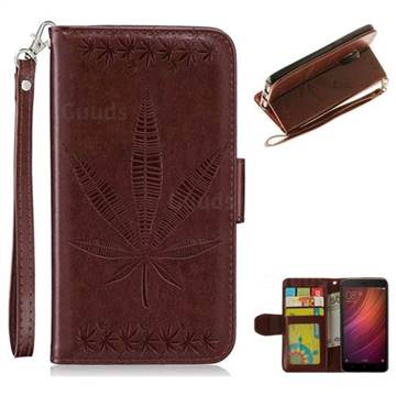 Intricate Embossing Maple Leather Wallet Case for Xiaomi Redmi Note 4 Red Mi Note4 - Brown