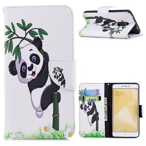 Bamboo Panda Leather Wallet Case for Xiaomi Redmi Note 4 Red Mi Note4