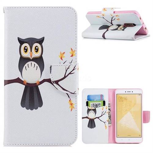 Owl on Tree Leather Wallet Case for Xiaomi Redmi Note 4 Red Mi Note4