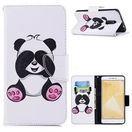Lovely Panda Leather Wallet Case for Xiaomi Redmi Note 4 Red Mi Note4