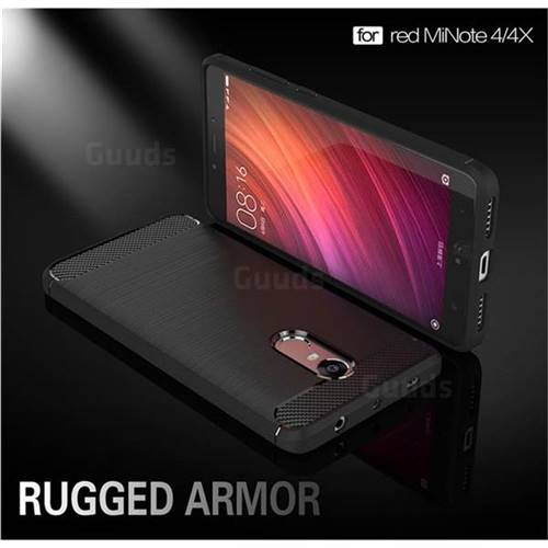 Luxury Carbon Fiber Brushed Wire Drawing Silicone TPU Back Cover for Xiaomi Redmi Note 4X (Black)