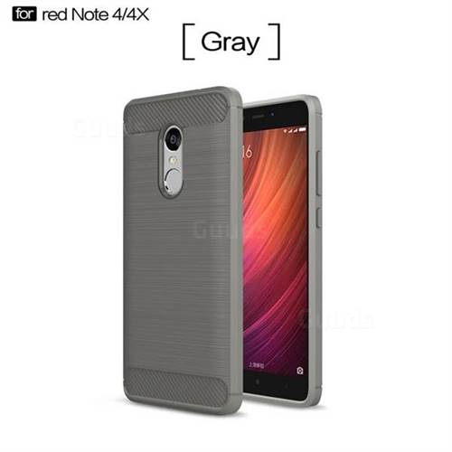 Luxury Carbon Fiber Brushed Wire Drawing Silicone TPU Back Cover for Xiaomi Redmi Note 4X (Gray)