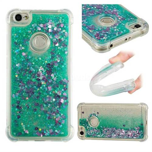 Dynamic Liquid Glitter Sand Quicksand TPU Case for Xiaomi Redmi Note 5A - Green Love Heart