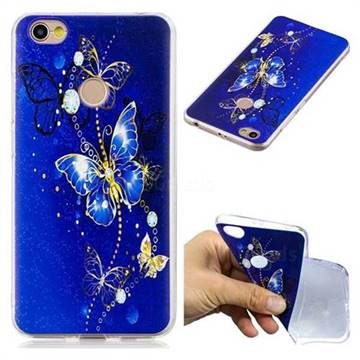 Gold and Blue Butterfly Super Clear Soft TPU Back Cover for Xiaomi Redmi Note 5A