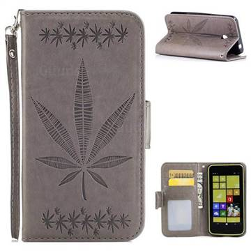 Intricate Embossing Maple Leather Wallet Case for Nokia Lumia 630 N630 - Gray