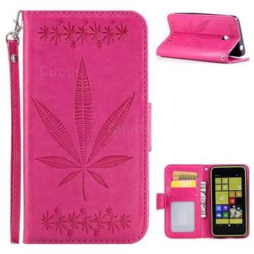 Intricate Embossing Maple Leather Wallet Case for Nokia Lumia 630 N630 - Rose