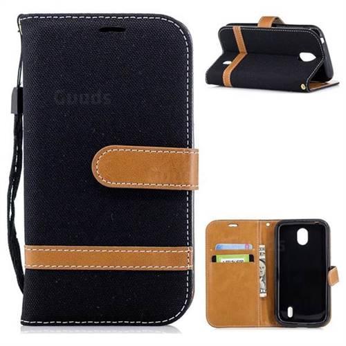 Jeans Cowboy Denim Leather Wallet Case for Nokia 1 - Black