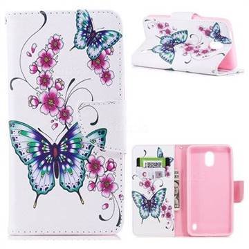 Peach Butterfly Leather Wallet Case for Nokia 2