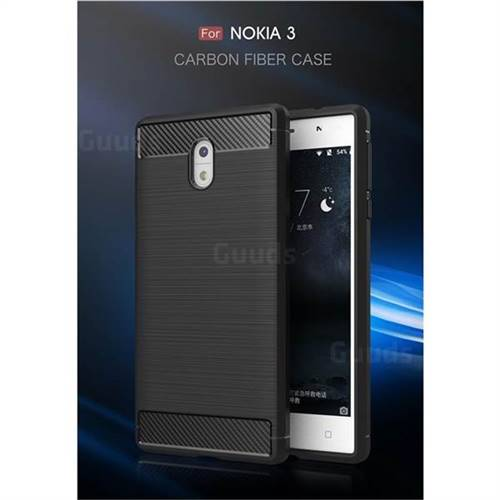 Luxury Carbon Fiber Brushed Wire Drawing Silicone TPU Back Cover for Nokia 3 Nokia3 (Black)