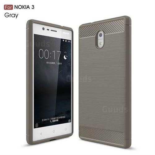 Luxury Carbon Fiber Brushed Wire Drawing Silicone TPU Back Cover for Nokia 3 Nokia3 (Gray)