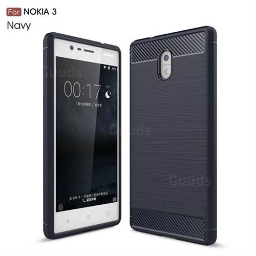Luxury Carbon Fiber Brushed Wire Drawing Silicone TPU Back Cover for Nokia 3 Nokia3 (Navy)