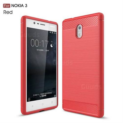 Luxury Carbon Fiber Brushed Wire Drawing Silicone TPU Back Cover for Nokia 3 Nokia3 (Red)