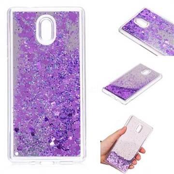 Glitter Sand Mirror Quicksand Dynamic Liquid Star TPU Case for Nokia 3 Nokia3 - Purple