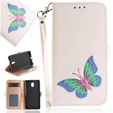 Imprint Embossing Butterfly Leather Wallet Case for Nokia 3 Nokia3 - White