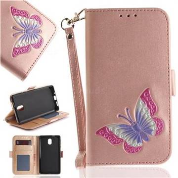 Imprint Embossing Butterfly Leather Wallet Case for Nokia 3 Nokia3 - Rose Gold