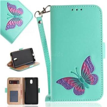 Imprint Embossing Butterfly Leather Wallet Case for Nokia 3 Nokia3 - Mint Green