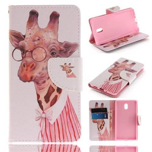 Pink Giraffe PU Leather Wallet Case for Nokia 3 Nokia3