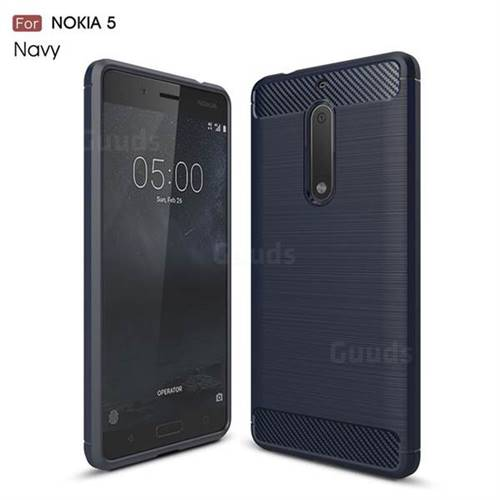 Luxury Carbon Fiber Brushed Wire Drawing Silicone TPU Back Cover for Nokia 5 Nokia5 (Navy)
