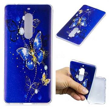 Gold and Blue Butterfly Super Clear Soft TPU Back Cover for Nokia 5 Nokia5