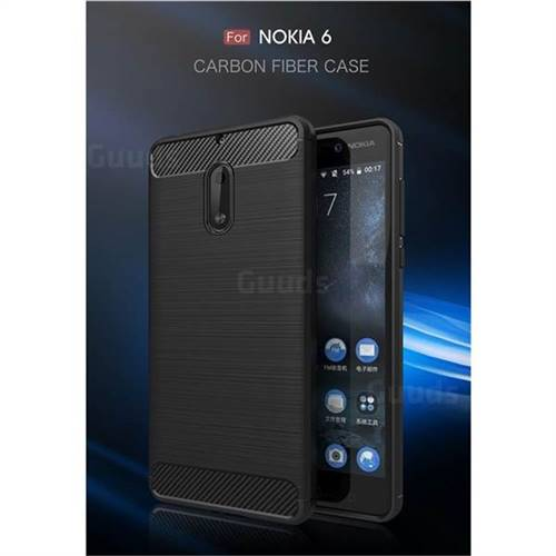 Luxury Carbon Fiber Brushed Wire Drawing Silicone TPU Back Cover for Nokia 6 Nokia6 (Black)