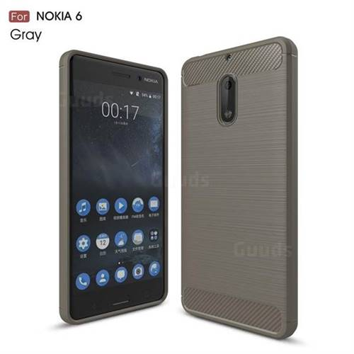 Luxury Carbon Fiber Brushed Wire Drawing Silicone TPU Back Cover for Nokia 6 Nokia6 (Gray)
