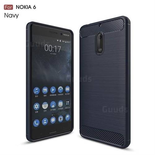 Luxury Carbon Fiber Brushed Wire Drawing Silicone TPU Back Cover for Nokia 6 Nokia6 (Navy)