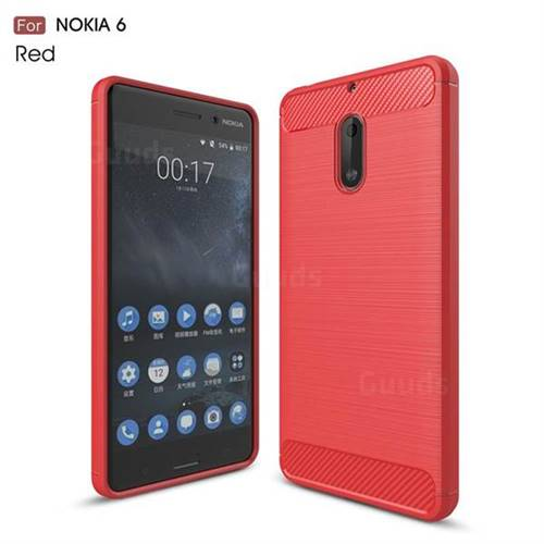 Luxury Carbon Fiber Brushed Wire Drawing Silicone TPU Back Cover for Nokia 6 Nokia6 (Red)
