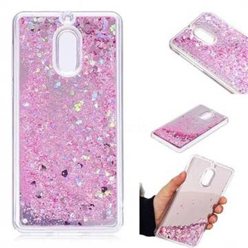 Glitter Sand Mirror Quicksand Dynamic Liquid Star TPU Case for Nokia 6 Nokia6 - Cherry Pink