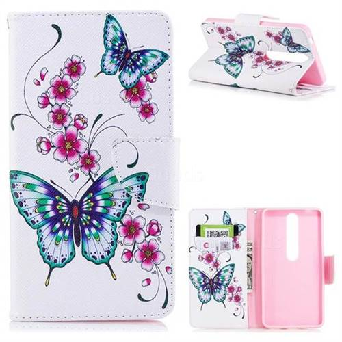 Peach Butterfly Leather Wallet Case for Nokia 6 (2018)