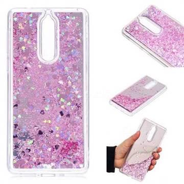 Glitter Sand Mirror Quicksand Dynamic Liquid Star TPU Case for Nokia 8 - Cherry Pink