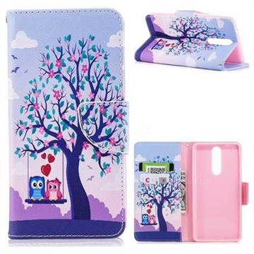 Tree and Owls Leather Wallet Case for Nokia 8